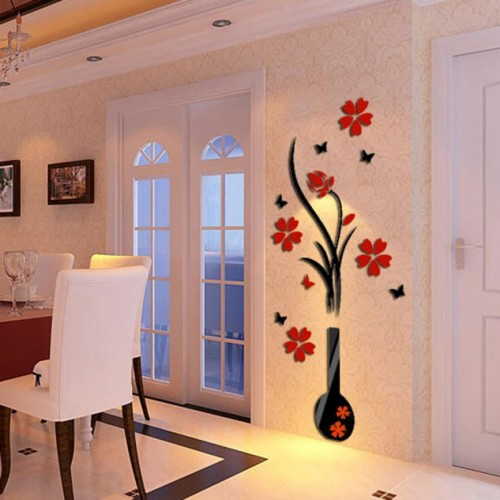 3D Wall Sticker Acrylic DIY Vase Flower Tree Crystal Acrylic Wall Stickers Decal Home Decor
