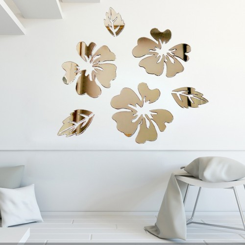 Acrylic Flowers Leaf Wall Stickers Reflective Mirror Home DIY Decoration Vinyl Art Decals Murals Poster