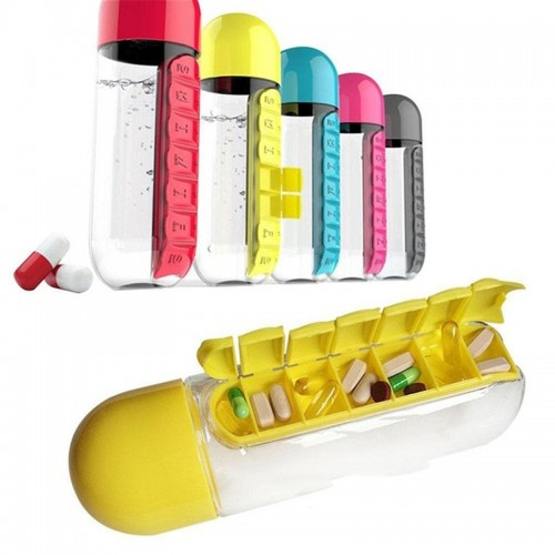 600ml Sports Plastic Water Bottle Combine Daily Pill Boxes Organizer  Leak-Proof Bottle Outdoor