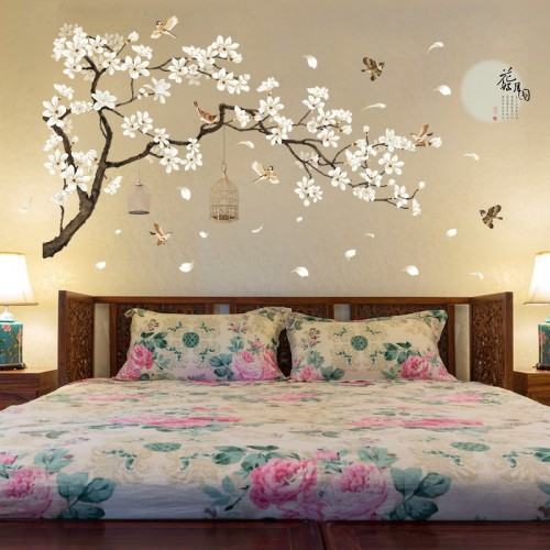 60 x 90cm Double Big Size Tree Wall Stickers Birds Flower Home Decor Wallpapers for Living Room Bedroom DIY Vinyl Rooms Decoration