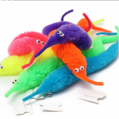 6pcs Magicians Toy Magical Worm Magic Trick Twisty Plush Wiggle Stuffed Animals Street Toy For Kids Gift 23cm