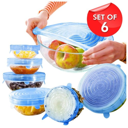 6pcs/Set Silicone Lids Durable Reusable Food Save Cover Heat Resisting Fits All Sizes and Shapes Of Containers Kitchen Tool