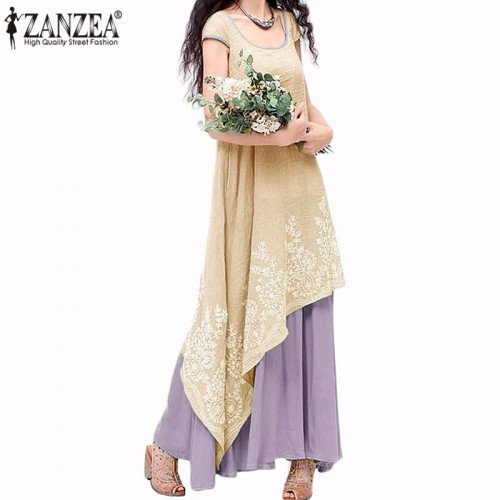 ZANZEA Women Summer Maxi Long Dress Casual Loose Dresses Short Sleeve Floral Embroidery Two Layers Vintage Vestidos