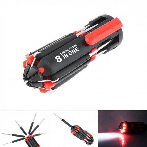 8 In 1 Multi Screwdriver With 6 LED Torch Hand Repair Tools Multi Functional For Home Appliance