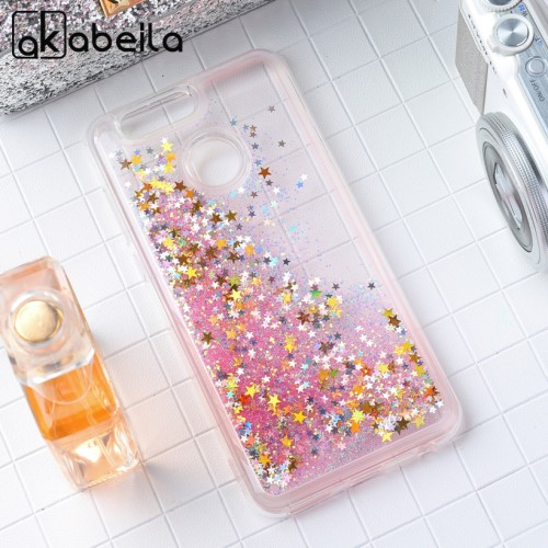 Liquid Glitter Stars Soft Phone Cases For Huawei Nova 2 plus Silicone PC Back Skin