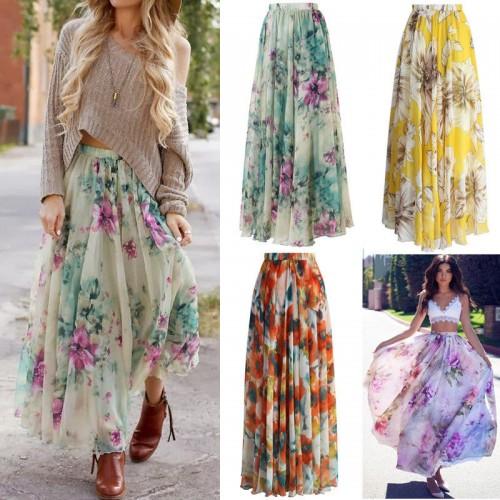 Women Printed Flowers Skirts