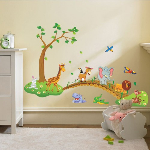 Animal Crossing Bridge New Cute Wall Stickers Kindergarten Decorative Stickers Three Generations Of Removable Stickers