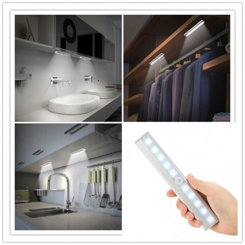 LED Night Lights With Motion Sensor Closet Cabinet Light Battery Operated Auto Switch ABS Night Lamp
