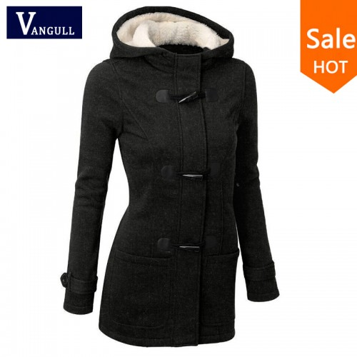 Hooded Horn Button Long Coat
