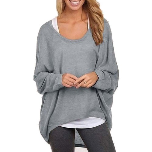 Batwing Long Sleeve Casual Solid Sweater