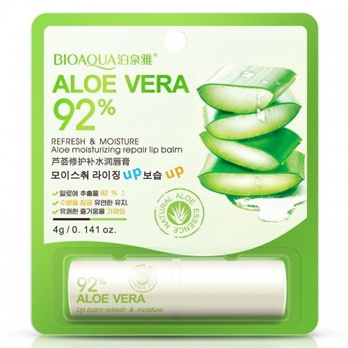 BIOAQUA Natural Aloe Moisturizing Lip Balm Colorless Refine repair lip wrinkles For Woman Winter Lip Care