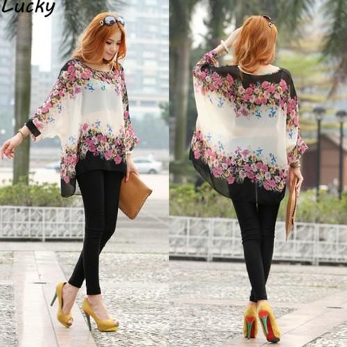 Bohemian Style Women Oversized Batwing Dolman Sleeve Floral Chiffon Shirt Tops Blouse
