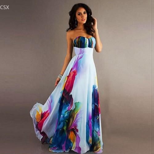 Elegant Women Sleeveless Strapless Long Floral Dress