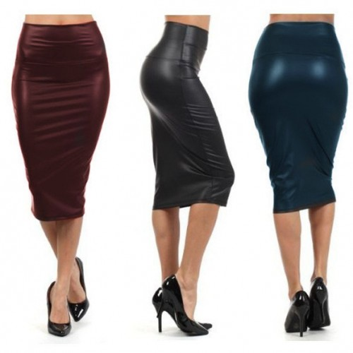 faux leather middle long Casual pencil skirt