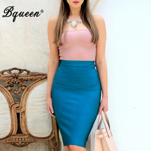 Solid Color Bandage Knee-length Pencil Skirt