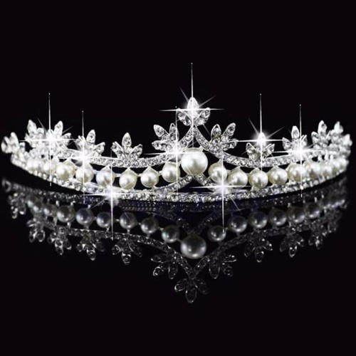 Bridal Rhinestone Pearl Crystal Hair Tiara Wedding Crown
