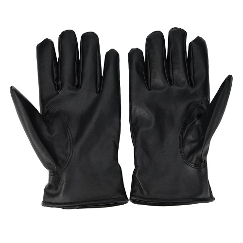 Fashion Warm Cashmere PU Leather Winter Gloves Waterproof
