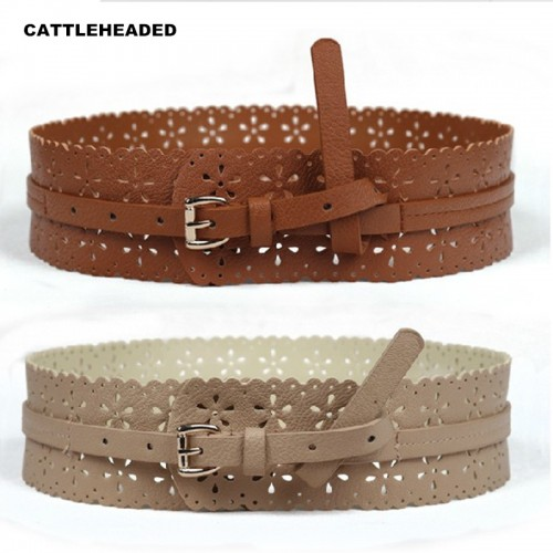 Slim hollow retro pin buckle wide belt