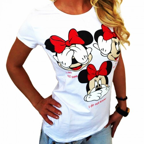Fashion Vintage Women Printed T shirt Loose Round Neck Short-sleeved