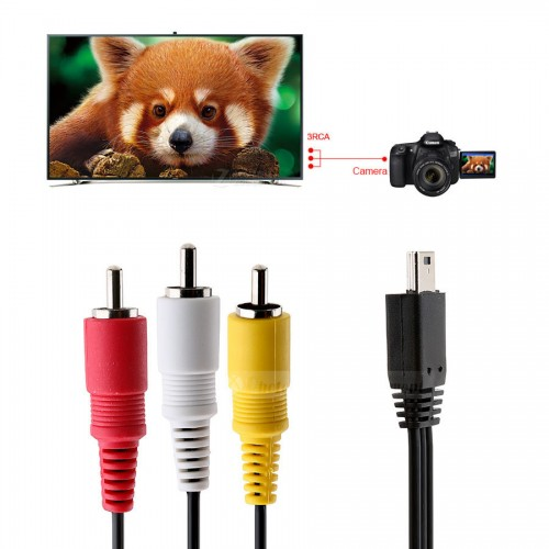 Camera Video Audio AV Cable Mini USB to 3 RCA for Canon 5D Mark II 5D Mark III 1D X SX700 HS SX710 HS SX170 IS