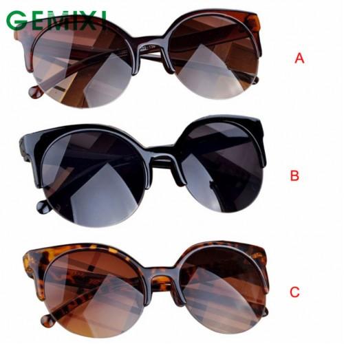Vintage Sunglasses Retro Cat Eye Semi-Rim Round Sunglasses