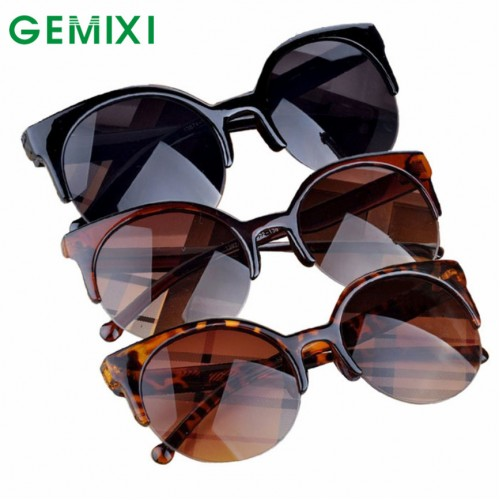 Vintage Sunglasses Retro Cat Eye Semi-Rim Round Sunglasses