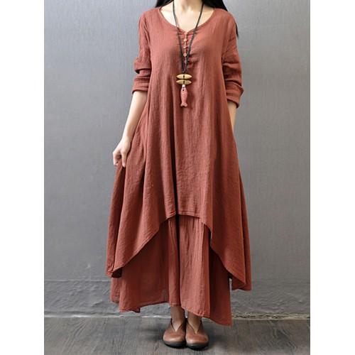Charmingtrend Women Dress Loose Light Thin Spring Fashion Dress Cotton Linen Long Maxi Beach Casual Dress Vestidos