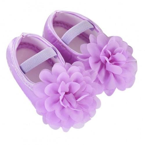 Chiffon Flower Prewalker Elastic Band baby girl shoes newborn Soft Sole Crib Shoes