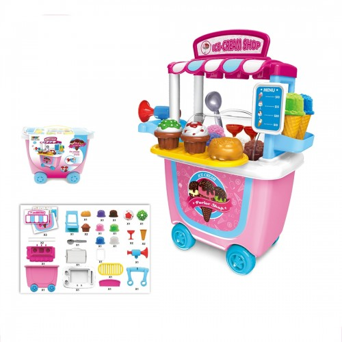 31Pcs/set Kids Pretend Role Play Ice Cream Toy Food Truck Groceries Toy Playset Cart