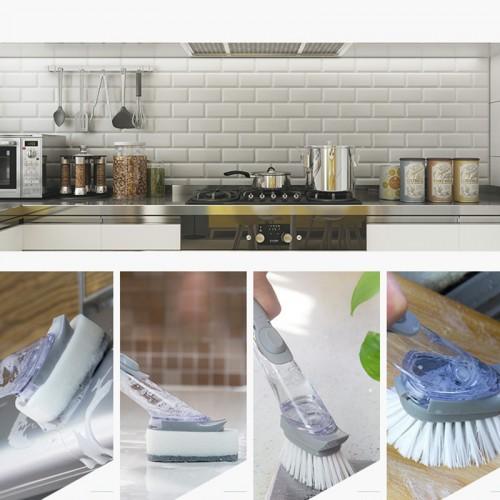 Cleaning Brush Sponge Pads Kitchen Dish Pan Pot Long Handle Scrubber