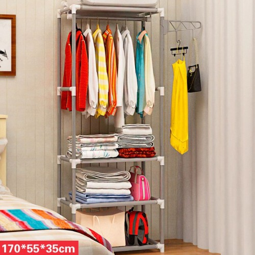 Coat Rack Stainless Steel Simple Assembly Bedroom Hanging Storage Clothes Hanger Wardrobe