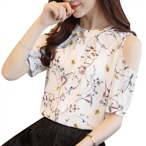 Cold Shoulder Chiffon Floral Printed Blouse Shirt Women Summer Tops