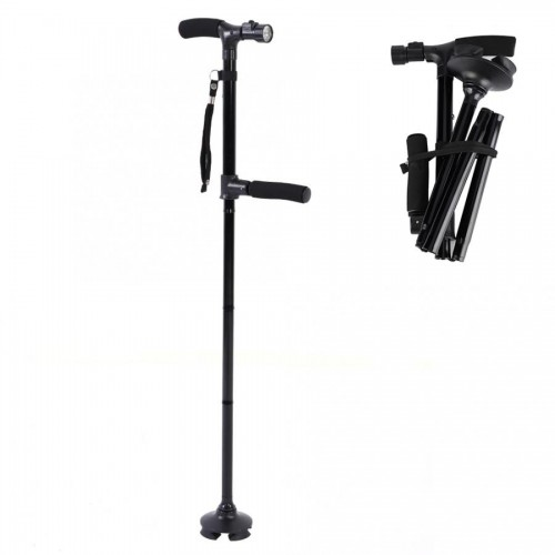 Collapsible Telescopic Folding Cane LED Lightweight Walking Trusty Sticks