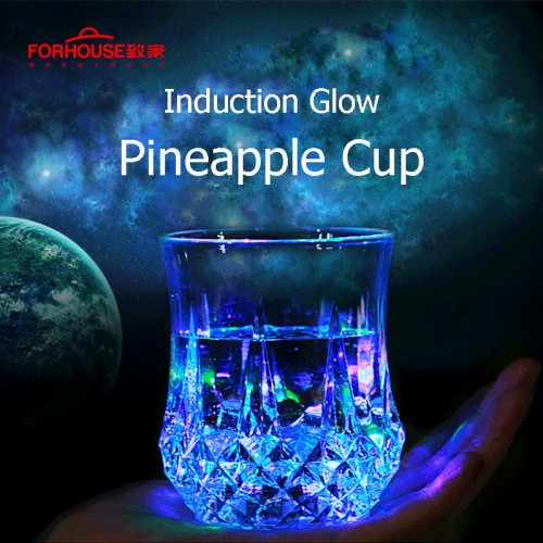 LED Flashing Glowing Water Liquid Activated Light Up Glass Cup Mug Luminous Party Drink Cup