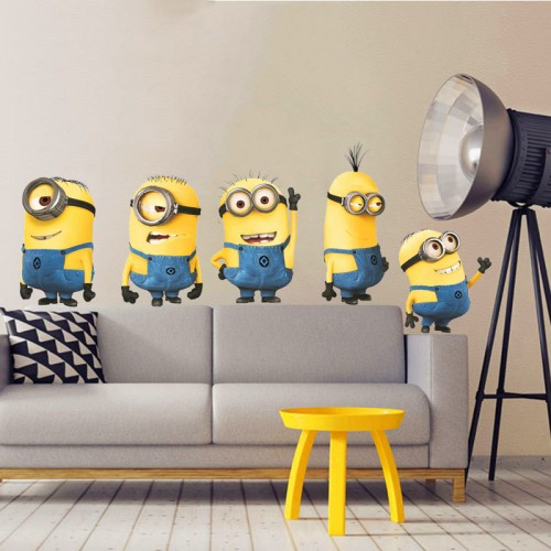 Cute 3D Small Yellow Man Movie Wall Stickers For Kids Room Home Decor  DIY Poster PVC