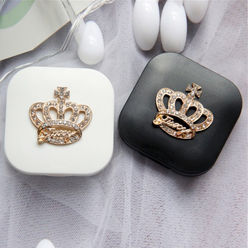 Cute Contact Lenses Case Crown Design Travel Lens Box Set With Mirror Eye Lenses Holder Container