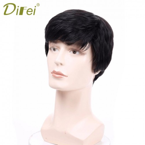 Natural Hair Pieces Straight Mens Wigs Short Straight Wigs For Men Heat Resistant Fake Hair Black Brown Red