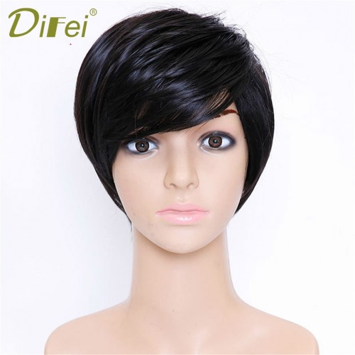 Short Hair Black Heat Resistant Synthetic High Temperature Fiber Wig Cosplay Wig  Afro Kinky