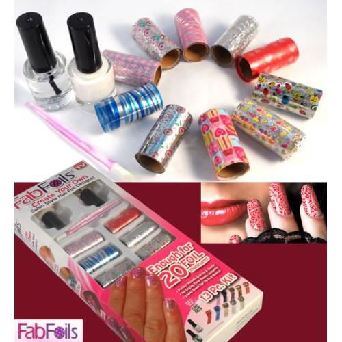Dazzle Color 13 Pcs Fab Foils Nail Art Decals DIY Foil Polish Nail Beauty Stickers