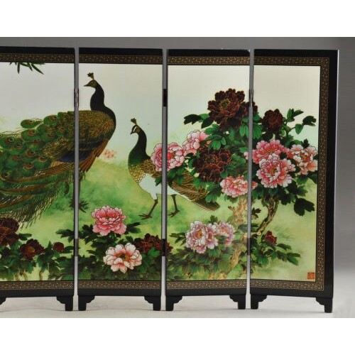Beautiful Oriental Lacquer Handwork Painting Peafowl Fold Screen