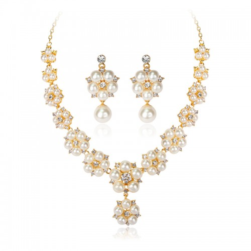 Elegant Pearl Jewelry Sets For Women Gold Color Shiny Crystal Inlaid Pearls Flower Necklace Earring Set