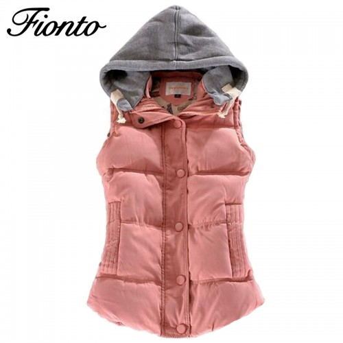 Women Winter Vest Cotton Casual Temperament Slim Vest Coat Hooded Winter Warm Jacket And  Outerwear