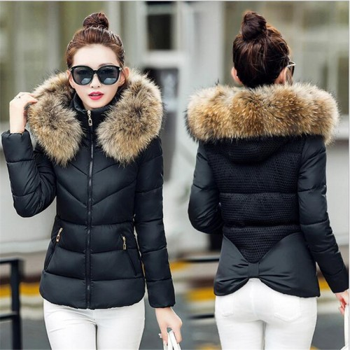 Fur collar down cotton thick Snow Wear Coat
