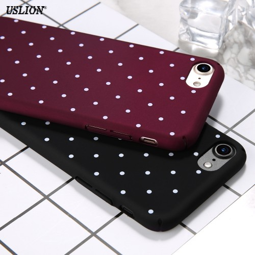 Wine Red Wave Point Dots Soft TPU Back Cover Case