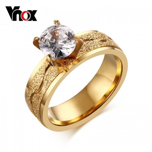 Fashion Dull Polish Stainless Steel Cubic Zirconia Ring