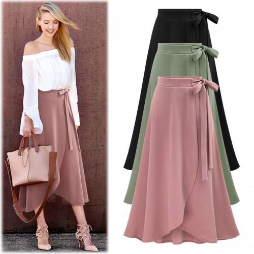 Fashion Hight Waist Skirts Womens Summer Casual Irregular Split Skirts Lady Long Skirt