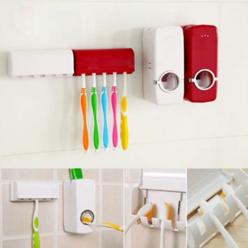 Fashion Automatic Toothpaste Dispenser Holder Bathroom Wall Mount Rack Bath