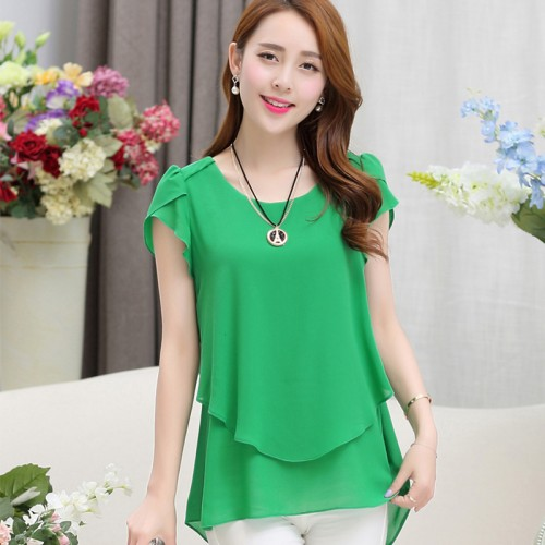 Fashion Elegant Blouse Chiffon Short Sleeve O Neck Women Tops Blouses