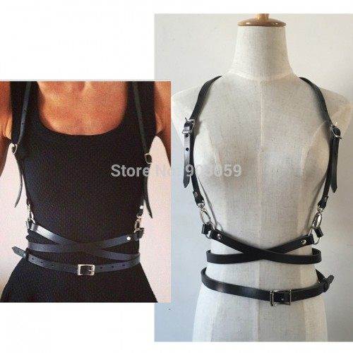 Punk O-Ring Faux Leather Body Bondage Belt