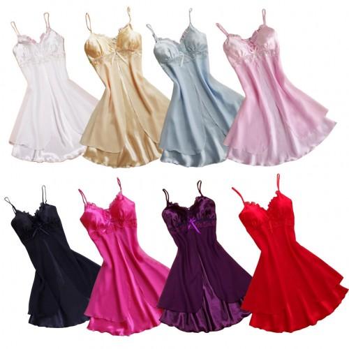 Fashion Women Nightgown Sleepwear Nightdress Sleeveless V-neck Mini Nightie